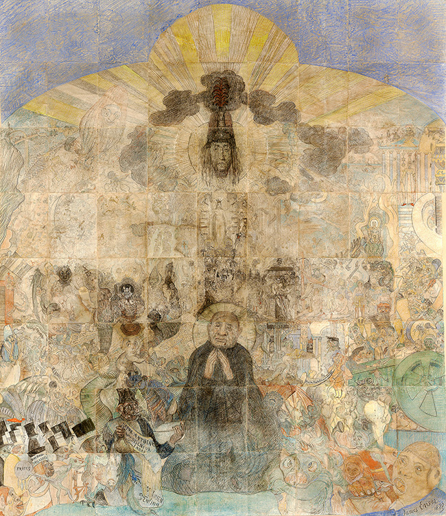 James Ensor, La tentation de Saint-Antoine, 51 dessins marouflés sur Japon, 1887