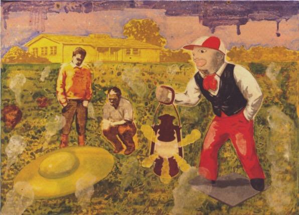 Steven Orner, 2012, Suburban Flight, huile sur toile, 22 x 30 po