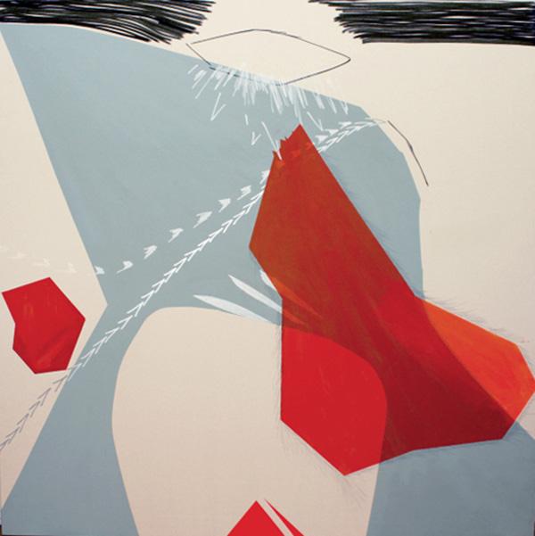 Manuel Bisson, D'ici vers l'éternité, acrylique et graphite sur toile, 183 x 183 cm