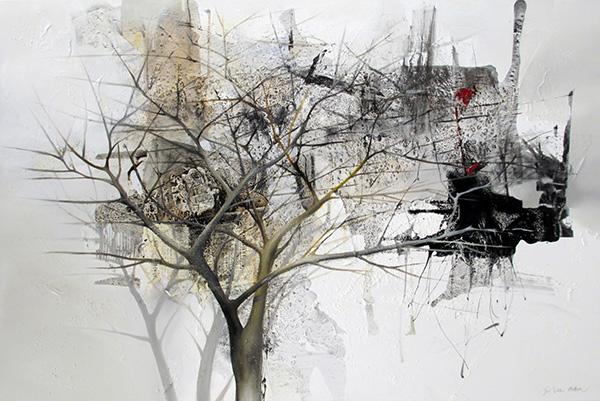 Jou Lee, technique mixte, Inner Garden, 40 x 60 pouces