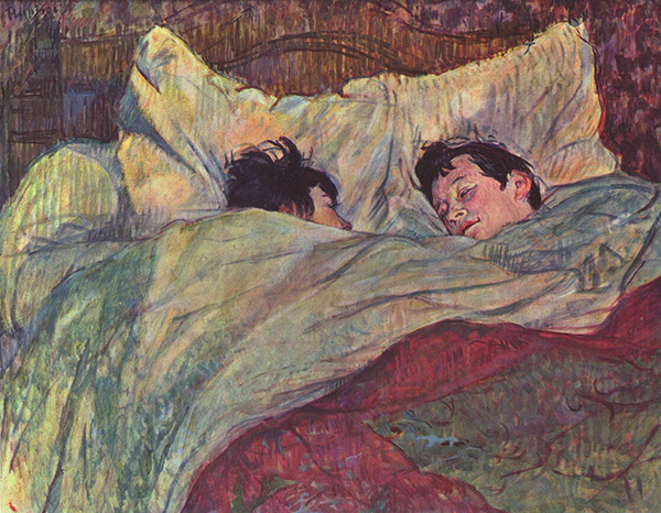 Henri de Toulouse-Lautrec Le lit vers 1892 huile sur carton marouflé sur bois parqueté H. 0.535 ; L. 0.7 musée d'Orsay, Paris, France