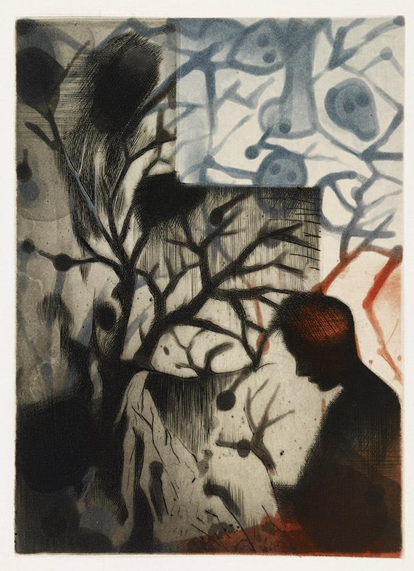 Louis-Pierre Bougie, Entre deux eaux, détail, 1992, 8 eaux-fortes et 4 planches teintées avec motif avec un texte original de Michel Butor.