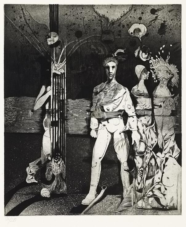 Louis-Pierre Bougie, Le prince sans rire, détail, 1983, 12 eaux-fortes avec un poème de Michaël LaChance