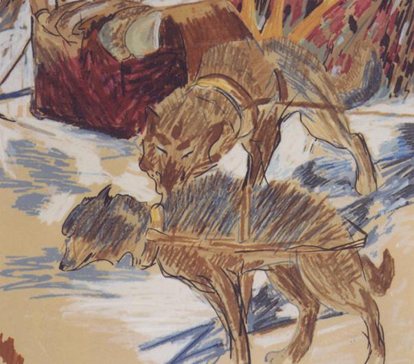 René Richard, Deux chiens et un traineau, dessin. Collection de l'Université Laval, Québec