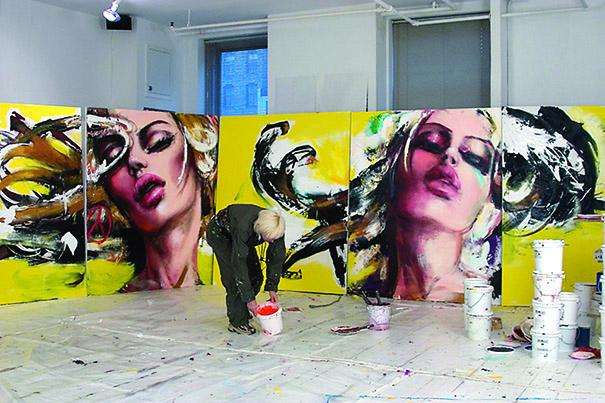 Corno dans son atelier à New York