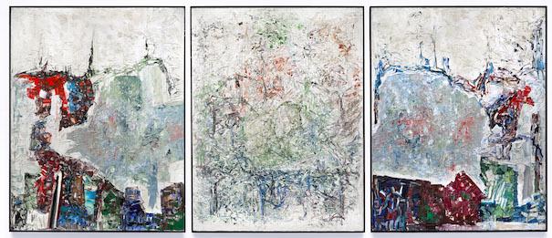 Jean-Paul Riopelle, Large Triptych, 1964. Huile sur toile, 276,4 × 643,7 cm. Hirshhorn Museum and Sculpture Garden, Smithsonian Institution, Washington, DC. Don de Joseph H. Hirshhorn, 1966 (66.4268) © Succession Jean-Paul Riopelle / SODRAC (2017). Photo : HMSG, Smithsonian Institution, Washington, DC, Cathy Carver Jean-Paul Riopelle, Large Triptych, 1964. Oil on canvas, 276.4 × 643.7 cm. Hirshhorn Museum and Sculpture Garden, Smithsonian Institution, Washington, DC. Gift of Joseph H. Hirshhorn, 1966 (66.4268) © Estate of Jean Paul Riopelle / SODRAC (2017). Photo: HMSG, Smithsonian Institution, Washington, DC, Cathy Carver