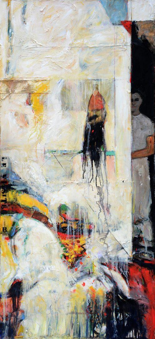 Le visiteur observé - 26 x 57 p - 2018 - technique mixte  sur toile