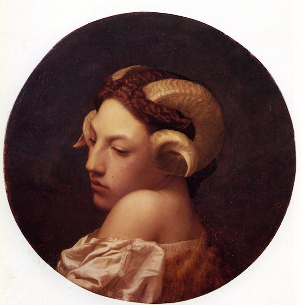 Tête de femme coiffée de corne de bélier. Jean-Léon Gérôme, 1853, Musée des beaux-arts de Nantes