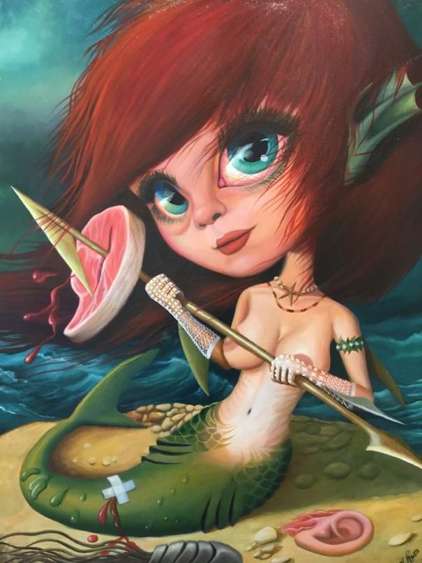 Igor El Ruso Shark girl, 40¨x 30¨, 2017 Huile sur toile 800$ Instagram : igorart_popsurrealism