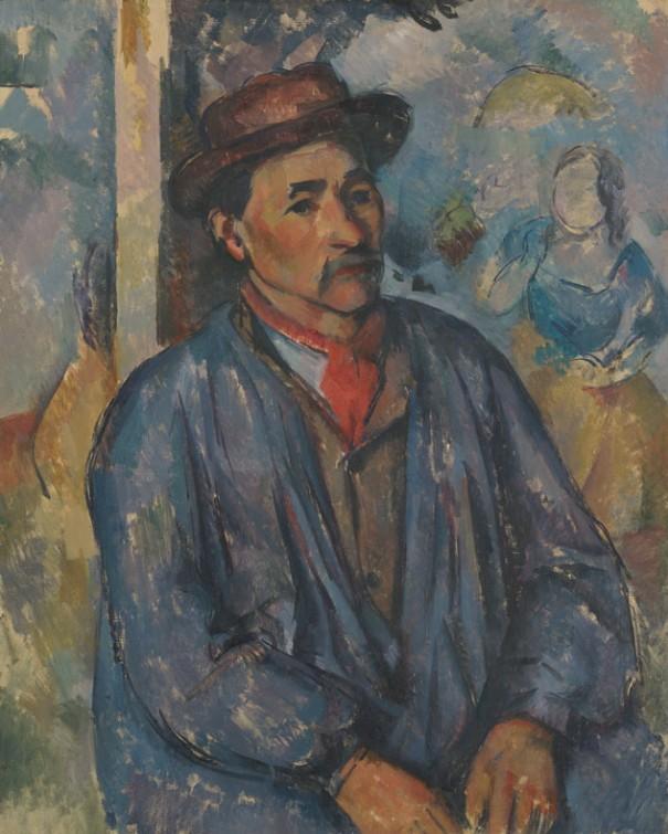 Paul Cézanne, Homme dans une blouse bleue , v. 1897, huile sur toile, Musée d'art de Kimbell, Forth Worth, Texas. Acquis en 1980 et dédié à la mémoire de Richard F. Brown