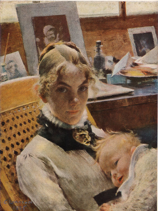 Carl Larsonn, Karin avec Suzanne, aquarelle, 1885.