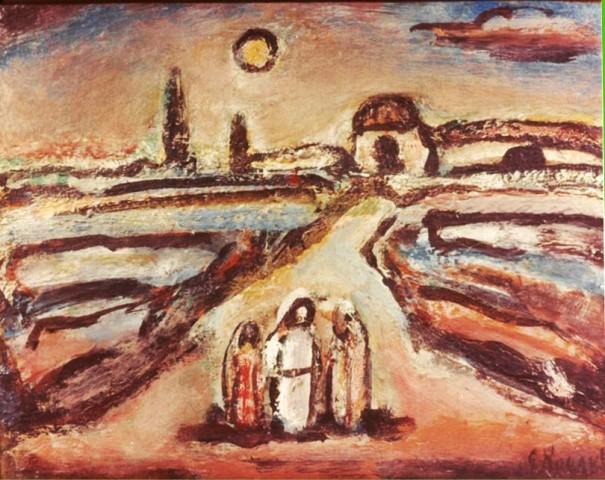 """Georges Rouault, """"Christ sur la route d'Emmaus,"""" ou """"Christ avec deux Disciples,"""" Oeuvre également volée en 1988 avec le Chagall, Renoir..."""