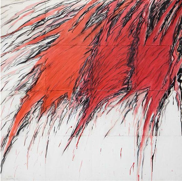 Jacques Hurtubise 1939 - 2014, 42 Tawagamie 1977, 162,6×162,6 cm/64×64 Pouces, Acrylique et fusain sur toile, signée et datée en bas à gauche ; signée, titrée et datée au dos