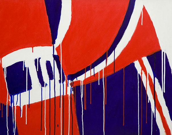 Serge Lemoyne, Le no 10, Lafleur 1975 Acrylique sur toile, signée et datée en haut à droite, 76,5×122 cm/30¼×48¼ pouces