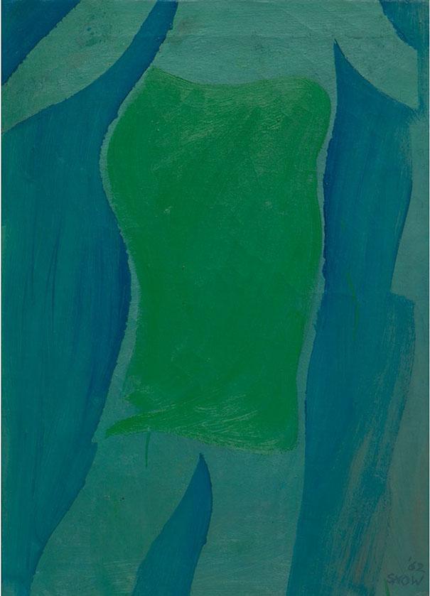 MichaelSnow 1929-, 34 Green Skirt, 1962. Huile sur toile, signée et datée en bas à droite ; signée, titrée et datée au dos, 70,5×50,5 cm / 27¾×20 pouces