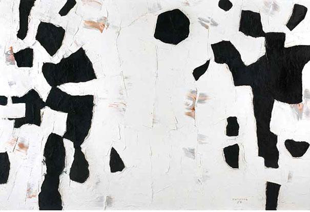 Paul-Émile Borduas, Figures schématiques huile sur toile, 1956,  51 1/8 x 76 7/8 pouces, 129.9 x 195.3 cm