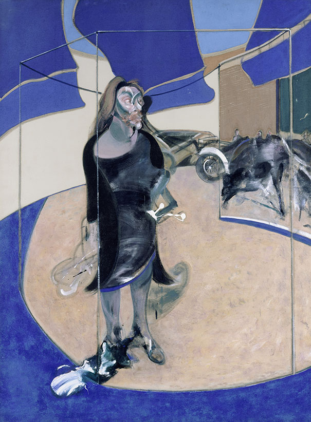 Francis Bacon, Portrait of Isabel Rawsthorne Standing in a Street in Soho, 1967 Huile sur toile 198 x 147 cm Staatliche Museen zu Berlin, Nationalgalerie. 1967 acquis par la ville de Berlin © The Estate of Francis Bacon. All rights reserved / 2018, ProLitteris, Zurich Photo : © bpk / Nationalgalerie, Staatliche Museen zu Berlin / Jörg P. Anders