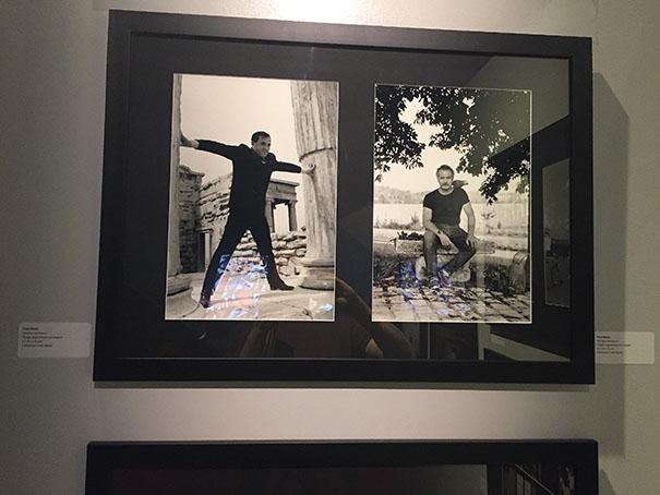 Photos de Fred Mella; à gauche Charles Aznavour, à droite, Georges Brassens