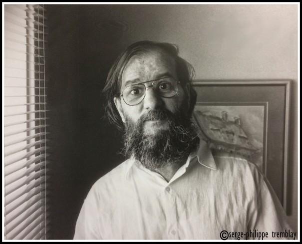 Roger Cantin photographié par Serge-Philippe Tremblay en 1982. Une rare photo de l'artiste qui n'aimait pas particulièrement les caméras