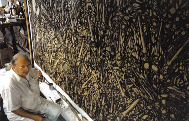 Bertin et une murale du Miserere - 1996 - Photo Paul Bourgault