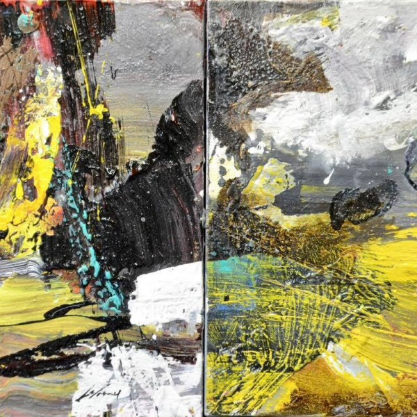 Séquence no6, 2017, technique mixte sur toile, 12 x 24 pouces